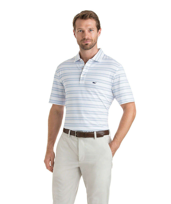 Custom Bowie Stripe Performance Polo in White Cap by Vineyard Vines