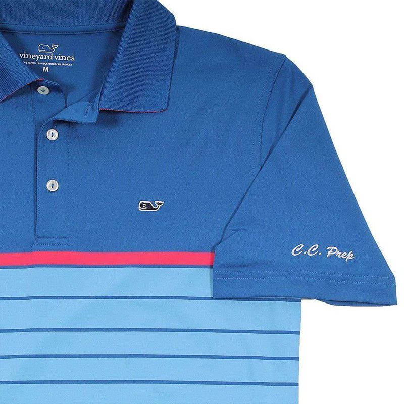 Custom Bristol Stripe Performance Polo in Kingfisher by Vineyard Vines