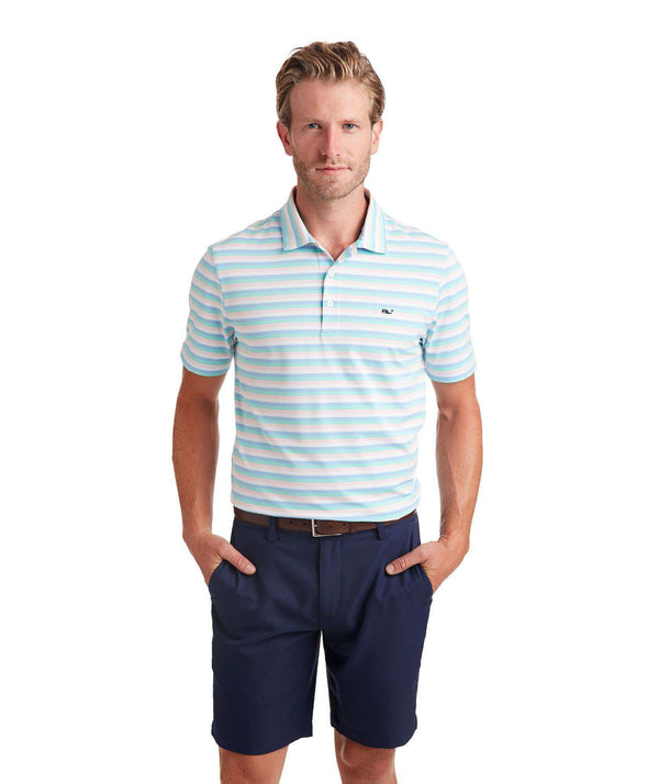 Men's Polo Shirts - Custom Gill Stripe Sankaty Performance Polo In Jake Blue By Vineyard Vines - FINAL SALE
