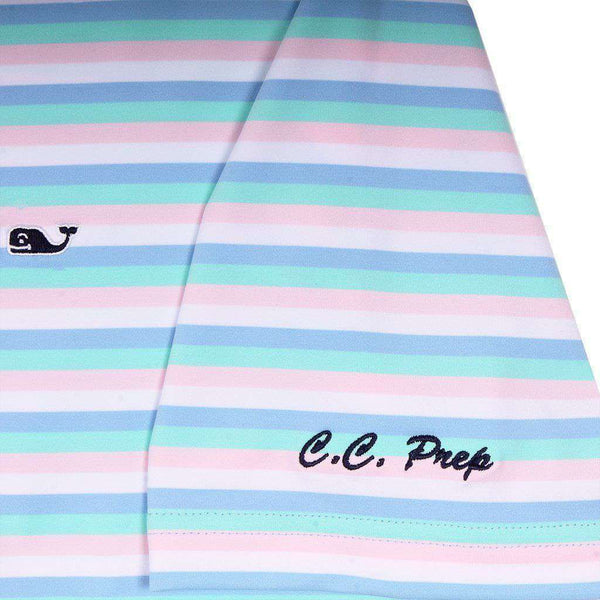 Custom Gill Stripe Sankaty Performance Polo in Jake Blue by Vineyard Vines