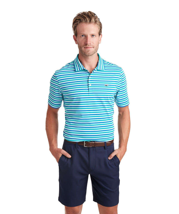 Men's Polo Shirts - Custom Gill Stripe Sankaty Performance Polo In Turquoise Sea By Vineyard Vines - FINAL SALE
