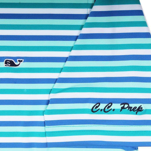 Custom Gill Stripe Sankaty Performance Polo in Turquoise Sea by Vineyard Vines
