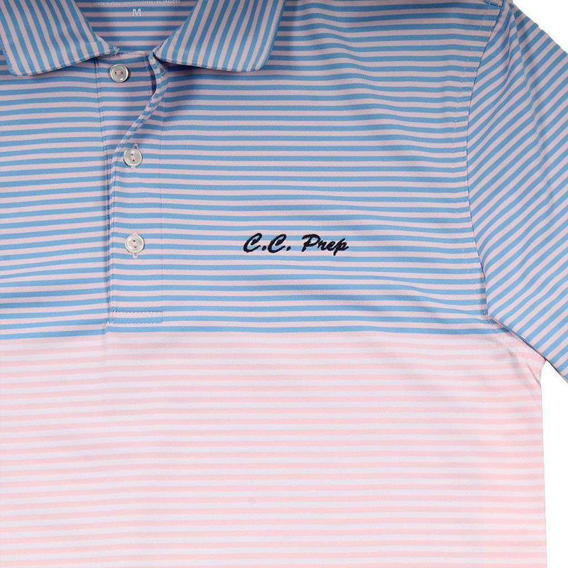 Custom Newport Stripe Performance Polo in Flamingo by Vineyard Vines