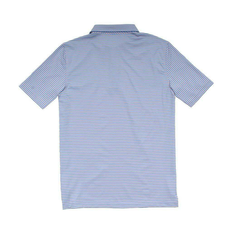 Men's Polo Shirts - Custom Newport Stripe Performance Polo In Flamingo By Vineyard Vines - FINAL SALE