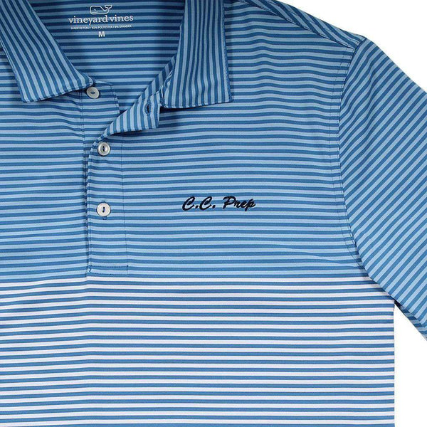 Men's Polo Shirts - Custom Newport Stripe Performance Polo In Hull Blue By Vineyard Vines - FINAL SALE