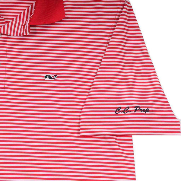 Custom Porter Stripe Performance Polo in Lighthouse Red by Vineyard Vines