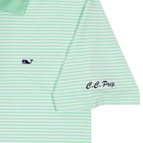 Custom Porter Stripe Performance Polo in Mint Spring by Vineyard Vines