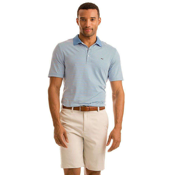 Men's Polo Shirts - Custom Porter Stripe Performance Polo In Ocean Breeze By Vineyard Vines