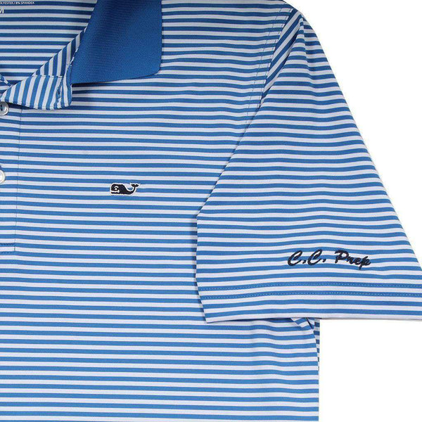 Custom Porter Stripe Performance Polo in Spinnaker by Vineyard Vines