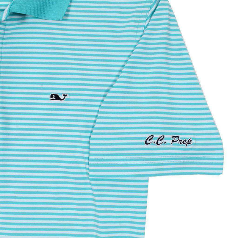 Custom Porter Stripe Performance Polo in Turquoise by Vineyard Vines