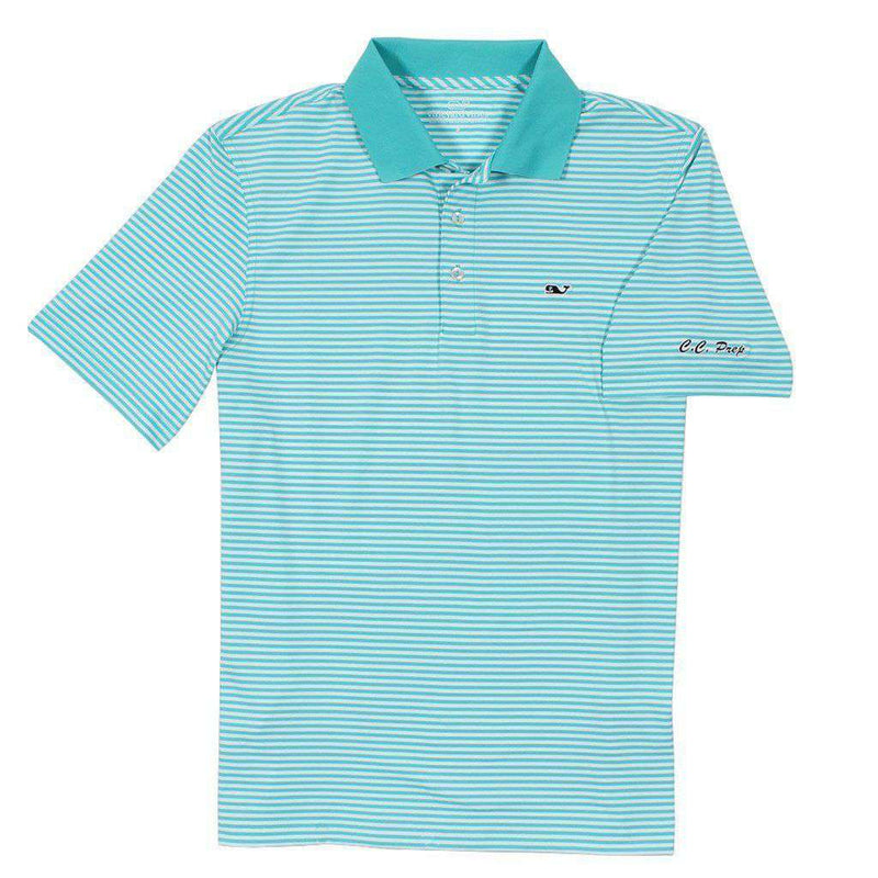 Men's Polo Shirts - Custom Porter Stripe Performance Polo In Turquoise By Vineyard Vines - FINAL SALE