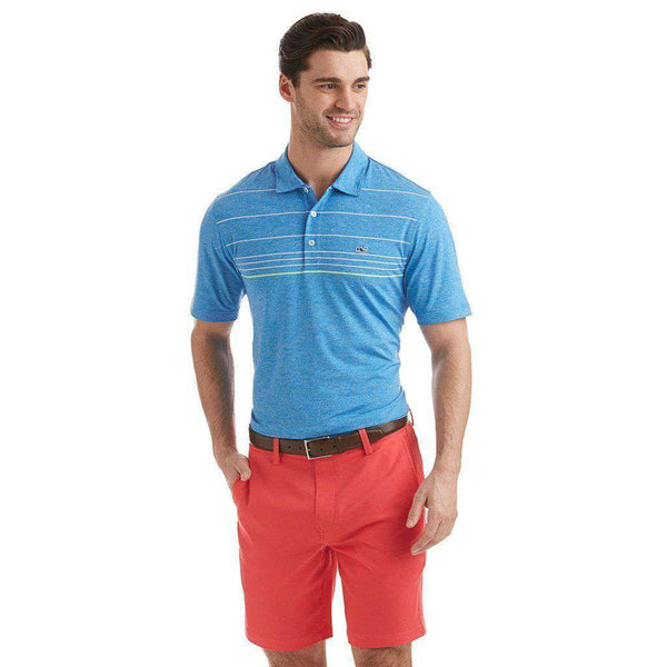 Men's Polo Shirts - Custom Simsbury Stripe Performance Polo In Azure Blue By Vineyard Vines - FINAL SALE