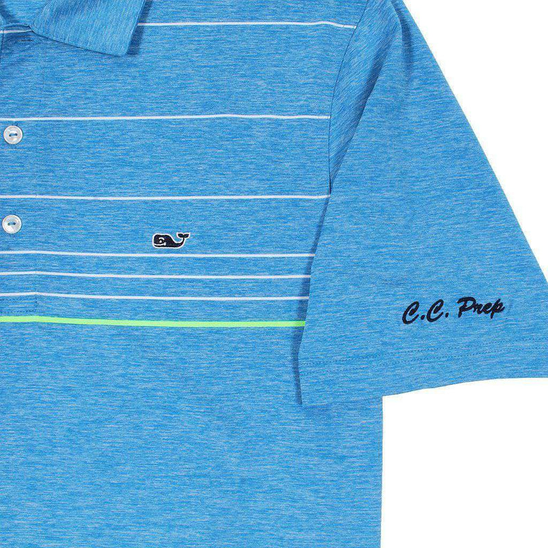 Custom Simsbury Stripe Performance Polo in Azure Blue by Vineyard Vines