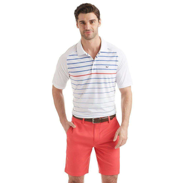 Men's Polo Shirts - Custom Watch Hill Stripe Performance Polo In White Cap By Vineyard Vines