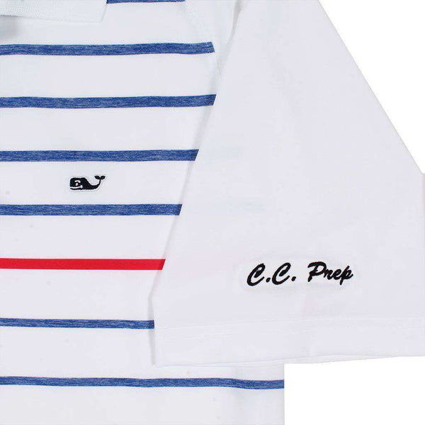Custom Watch Hill Stripe Performance Polo in White Cap by Vineyard Vines