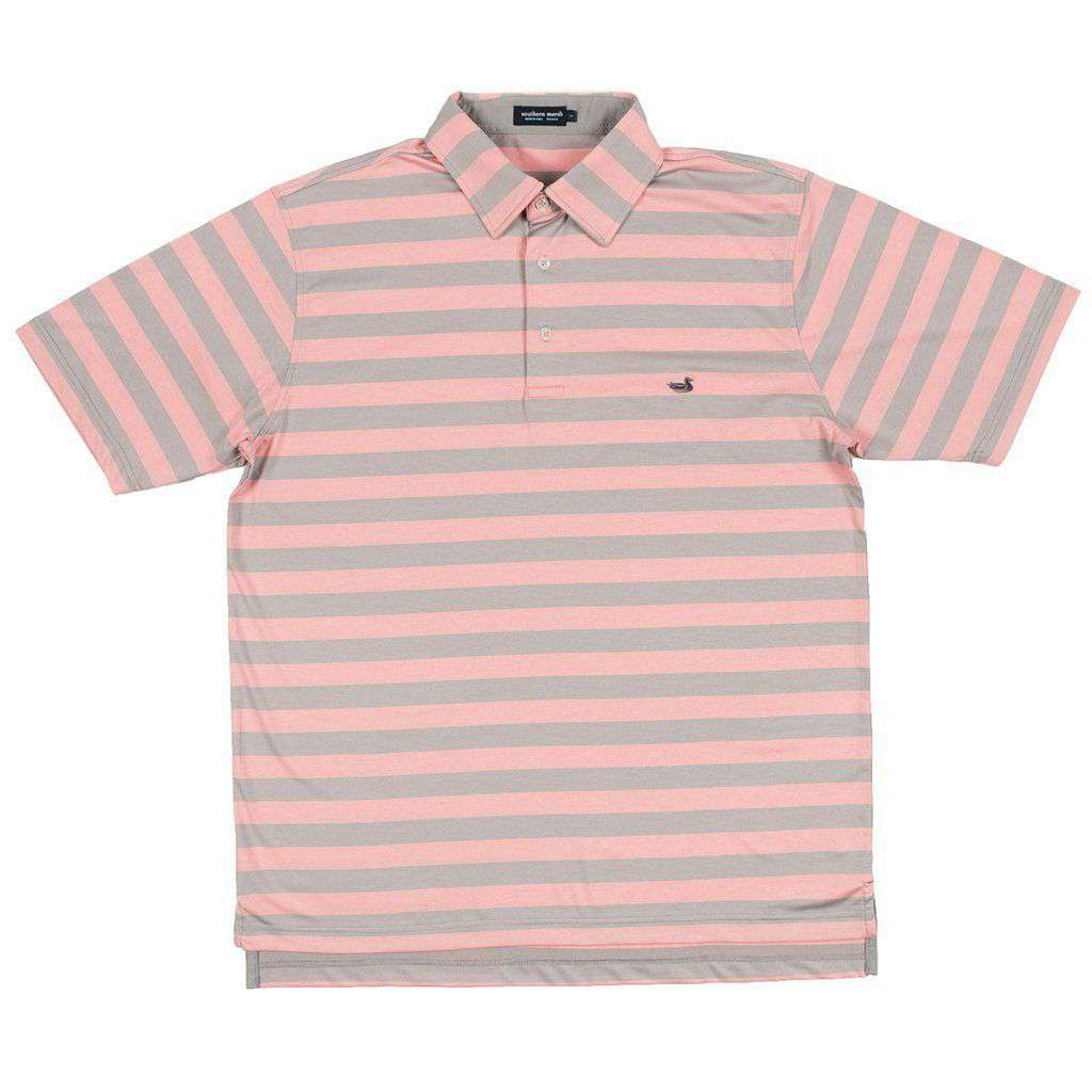Davis Performance Polo in Gray & Peach by Southern Marsh - FINAL SALE