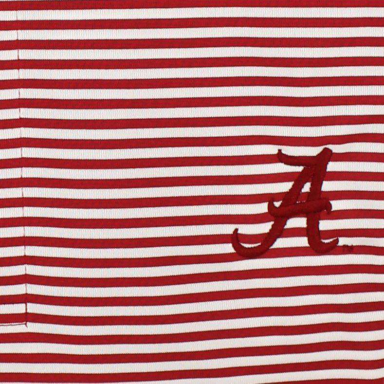 Men's Polo Shirts - Drytec Alabama Polo Shirt In Crimson And White Stripes By Cutter & Buck