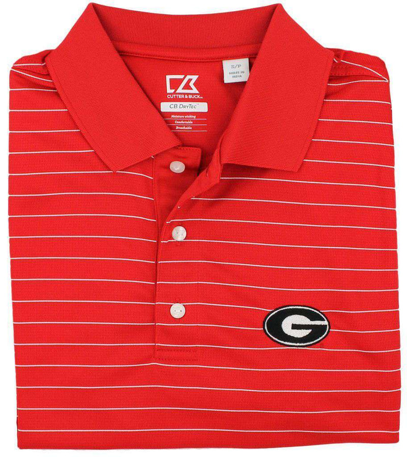 Men's Polo Shirts - Drytec Georgia Stripe Polo Shirt In Red/White Stripe By Cutter & Buck