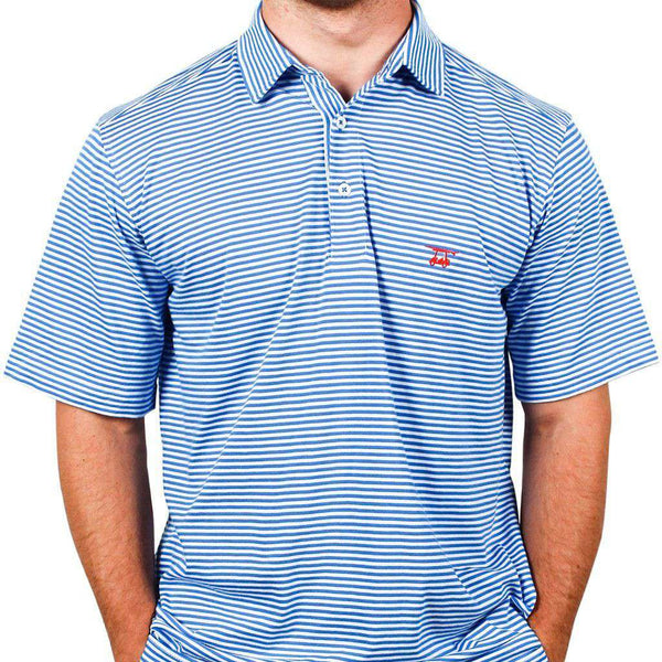 Men's Polo Shirts - East Beach Polo In Blue Astor/White By Bald Head Blues
