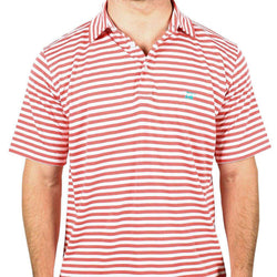 Men's Polo Shirts - East Beach Polo In Coral And White Stripes By Bald Head Blues
