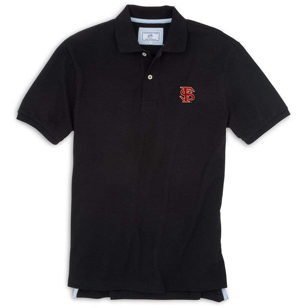 Men's Polo Shirts - Florida State Gameday Skipjack Polo In Black By Southern Tide