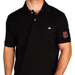 Men's Polo Shirts - Florida State University Collegiate Skipjack Polo In Black By Southern Tide