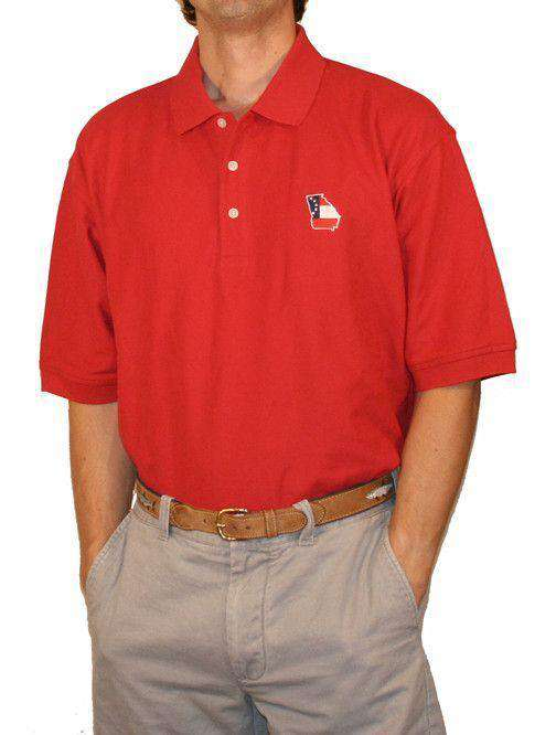 Men's Polo Shirts - GA Traditional Polo In Red By State Traditions