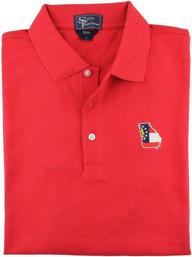 GA Traditional Polo in Red by State Traditions