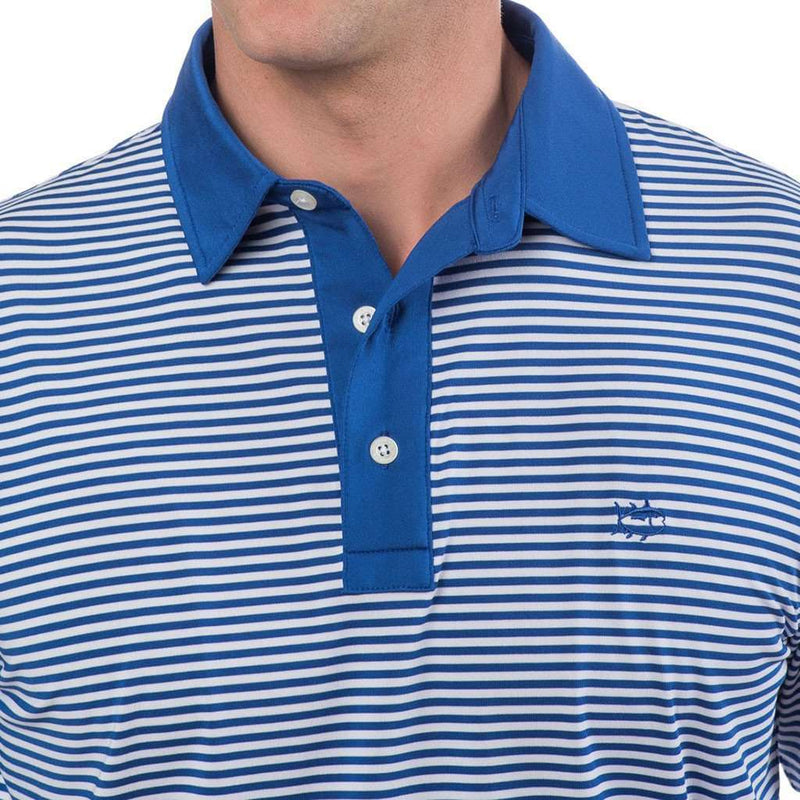 Game Set Match Stripe Performance Polo in Classic White by Southern Tide