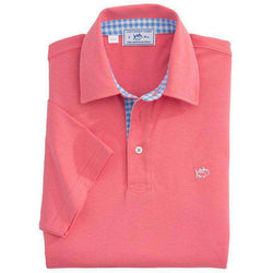 Men's Polo Shirts - Gingham Placket Skipjack Polo In Coral Beach By Southern Tide