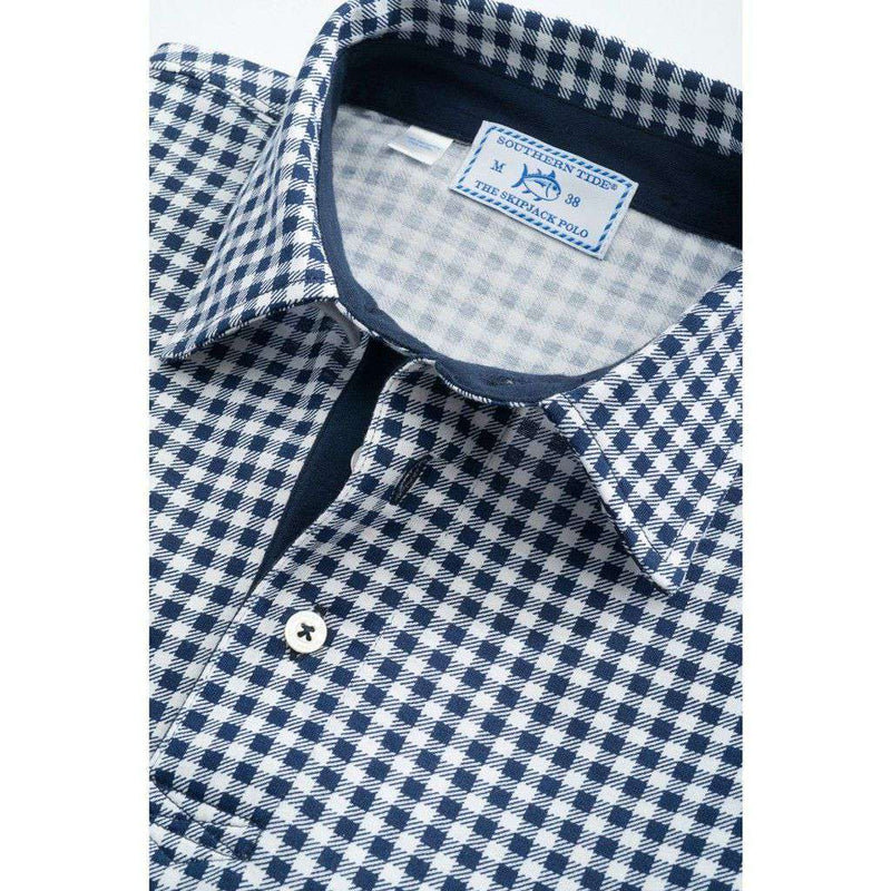 Men's Polo Shirts - Gingham Skipjack Polo In True Navy By Southern Tide