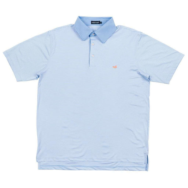 Men's Polo Shirts - Hawthorne Performance Polo In Light Blue & White By Southern Marsh