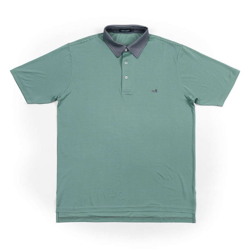 Men's Polo Shirts - Hawthorne Performance Polo In Slate & Mint By Southern Marsh