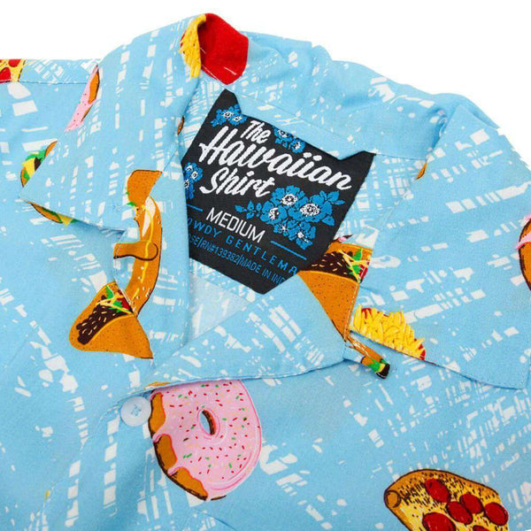Heart Attack Hawaiian Shirt in Blue by Rowdy Gentleman - FINAL SALE