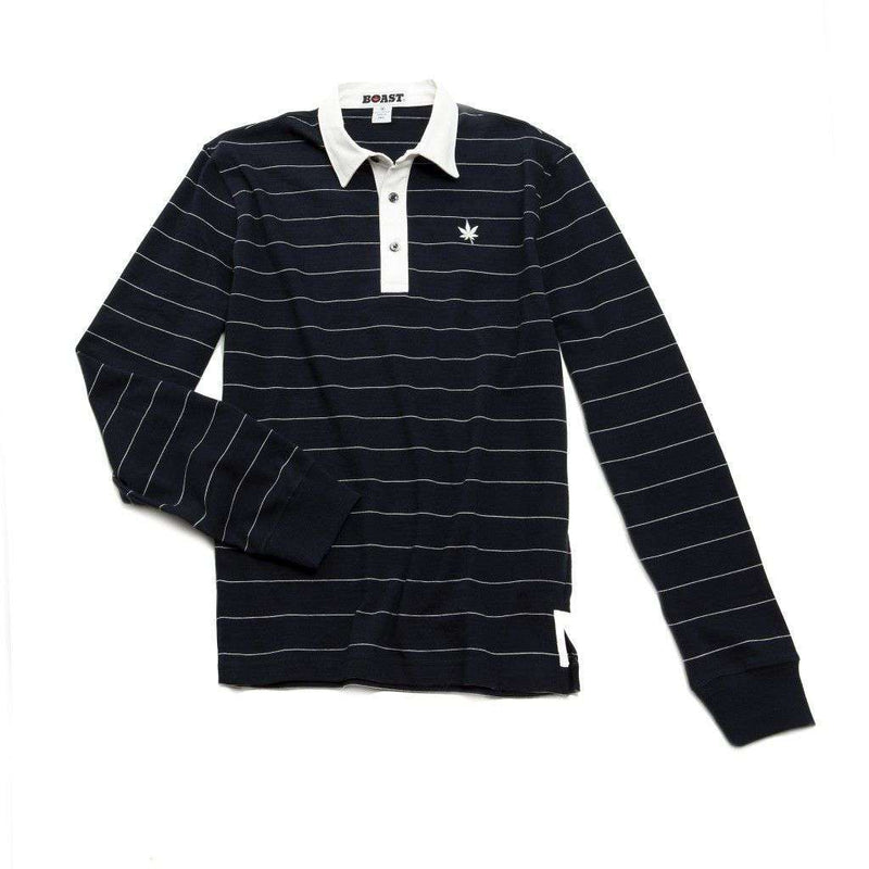 Men's Polo Shirts - Heavy Jersey Long Sleeve Polo In Navy With White Stripes By Boast - FINAL SALE
