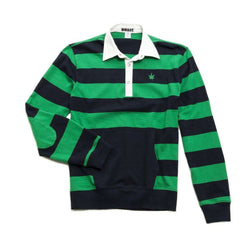Men's Polo Shirts - Heavy Jersey Popover In Kelly Green And Navy By Boast - FINAL SALE