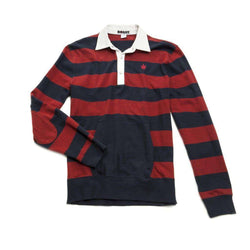 Men's Polo Shirts - Heavy Jersey Popover In Red And Navy By Boast - FINAL SALE