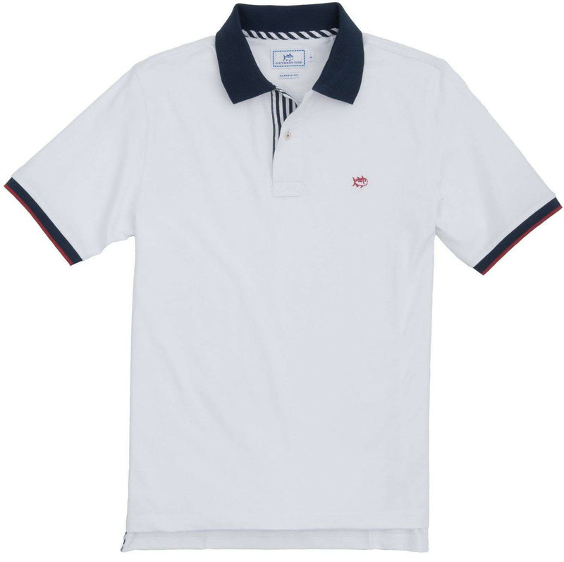 Men's Polo Shirts - Independence Day Solid Polo In Classic White By Southern Tide