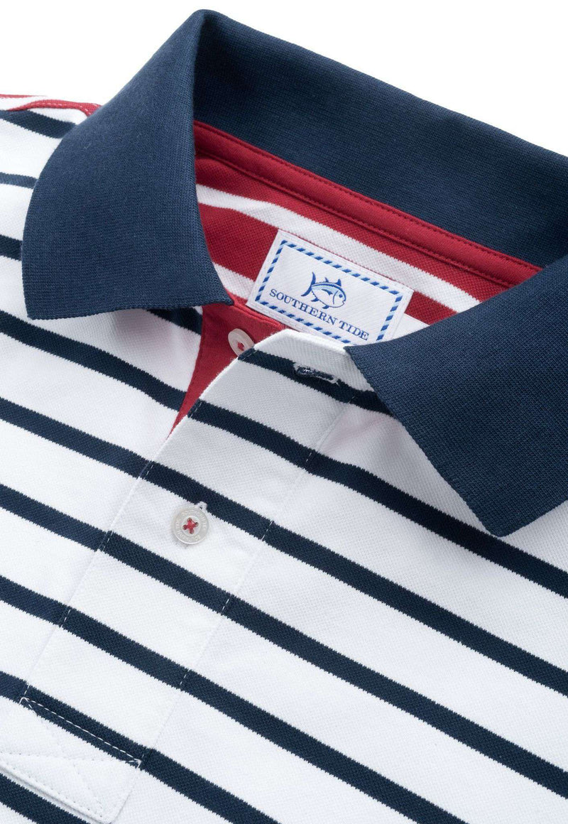 Men's Polo Shirts - Independence Day Striped Polo In Red, White And Blue By Southern Tide