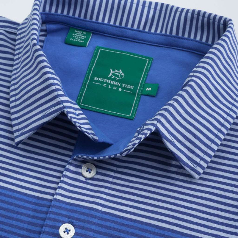 Men's Polo Shirts - King Street Stripe Polo In Meridian Blue By Southern Tide