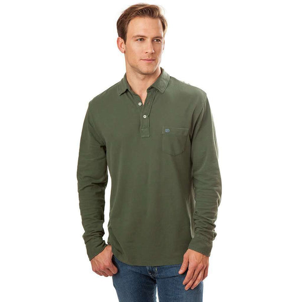 Men's Polo Shirts - Long Sleeve Beachside Polo In Dark Sage By Southern Tide - FINAL SALE