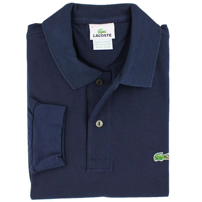 Men's Polo Shirts - Long Sleeve Classic Pique Polo In Navy Blue By Lacoste