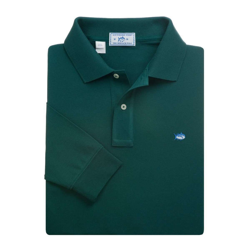 Men's Polo Shirts - Long Sleeve Classic Skipjack Polo In Ivy Green By Southern Tide
