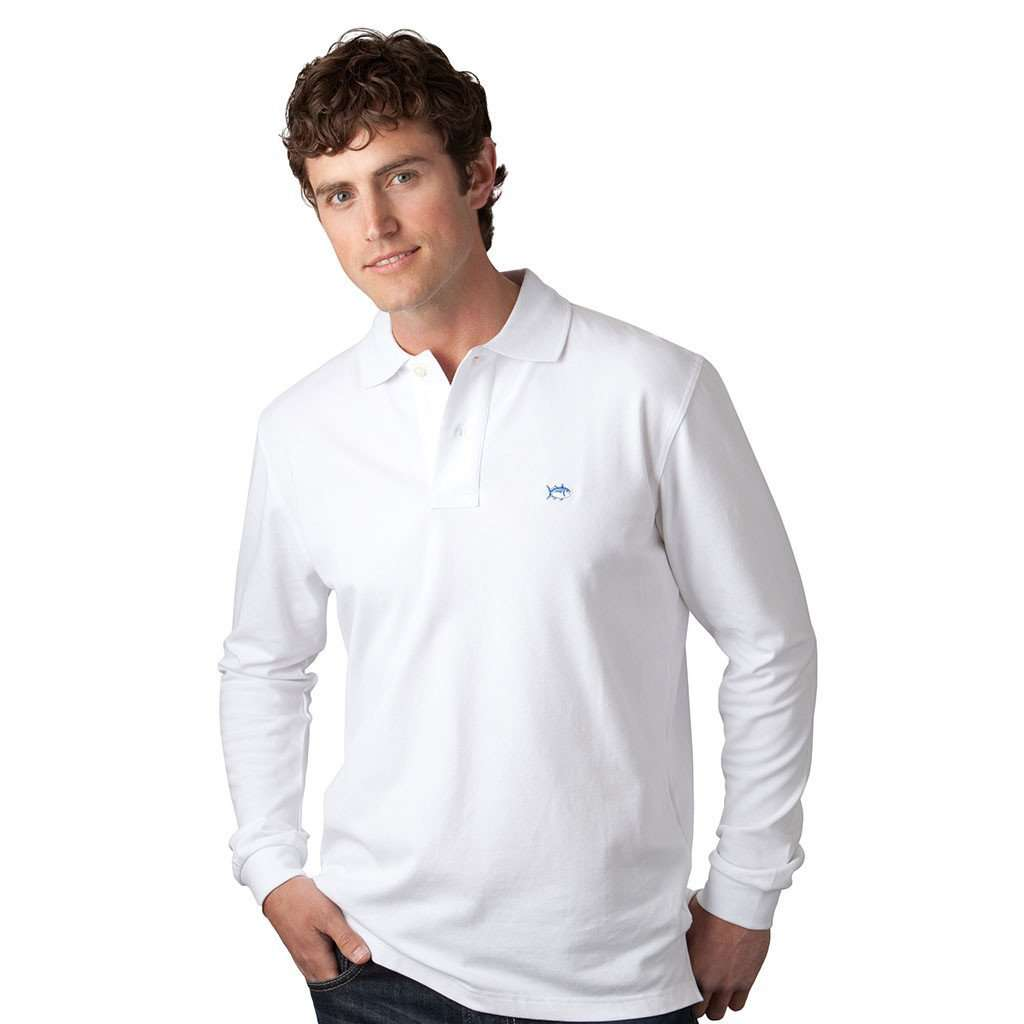 Men's Polo Shirts - Long Sleeve Classic Skipjack Polo In White By Southern Tide