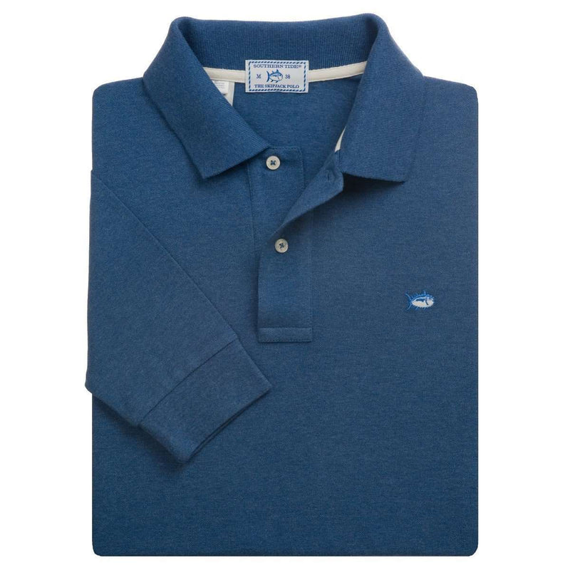 Men's Polo Shirts - Long Sleeve Heathered Skipjack Polo In Blue Rapids By Southern Tide