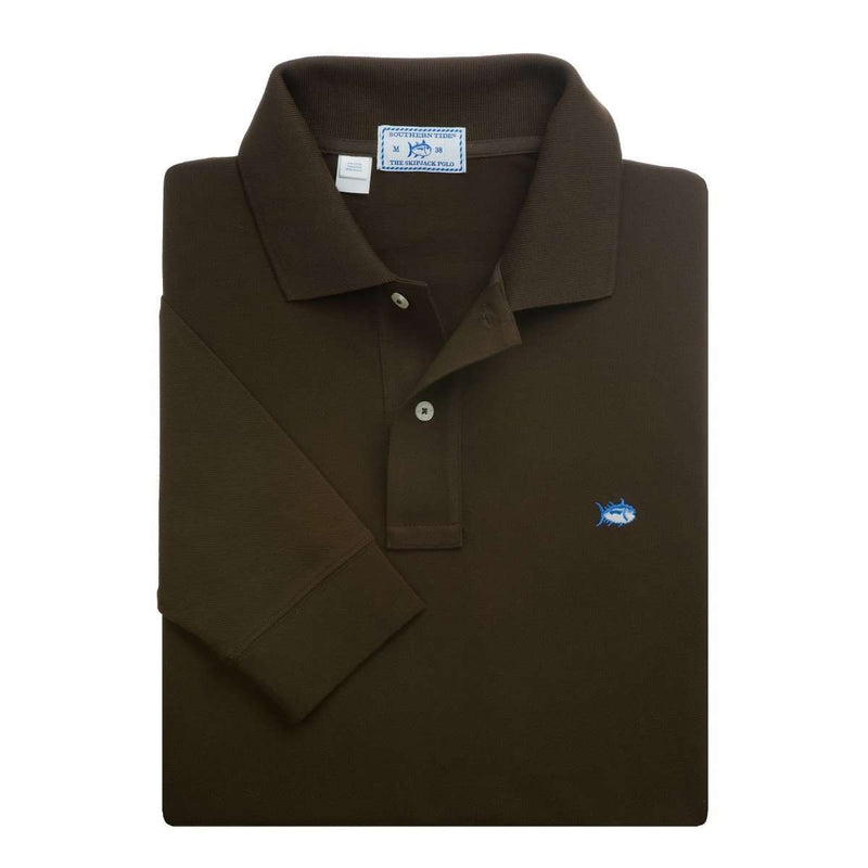 Men's Polo Shirts - Long Sleeve Heathered Skipjack Polo In Cacao Brown By Southern Tide