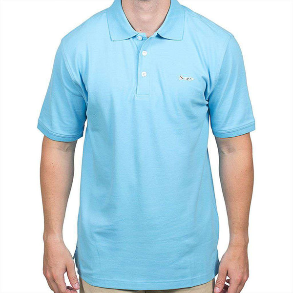 Men's Polo Shirts - Longshanks Embroidered Patch Polo In Crystal Blue By Country Club Prep