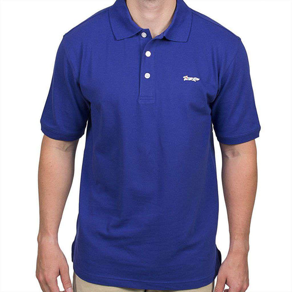 Men's Polo Shirts - Longshanks Embroidered Patch Polo In Dark Blue By Country Club Prep