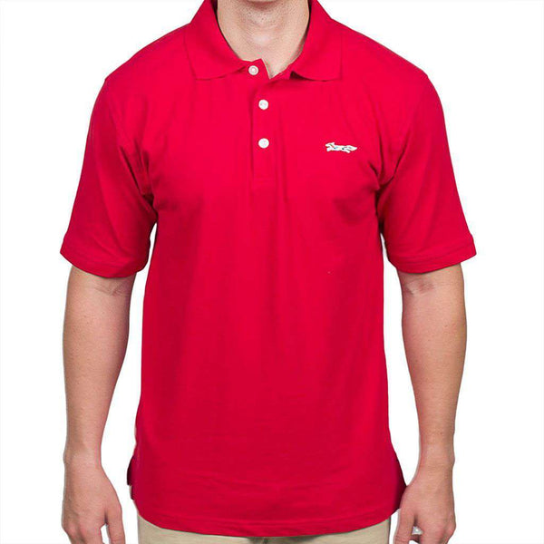 Men's Polo Shirts - Longshanks Embroidered Patch Polo In Red By Country Club Prep