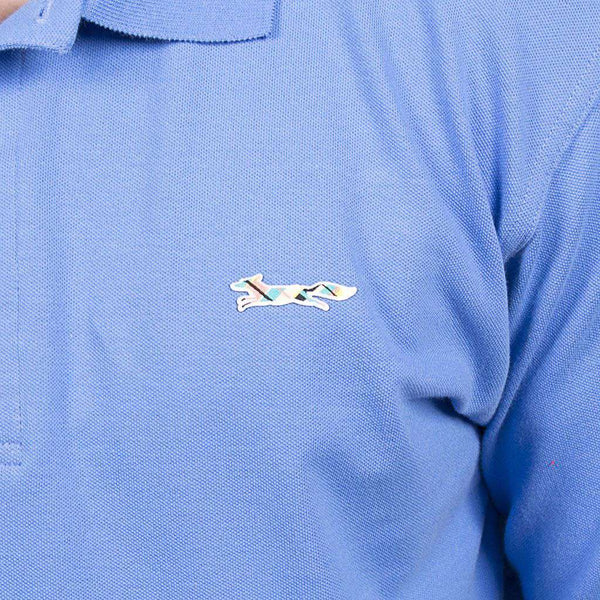 Men's Polo Shirts - Longshanks Embroidered Patch Polo In River Blue By Country Club Prep